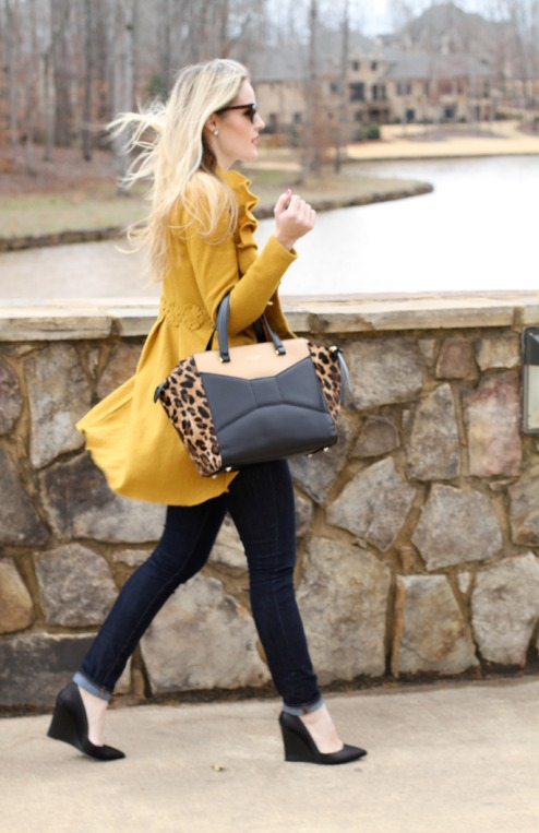 Anthropologie Coat and Kate Spade beau bag