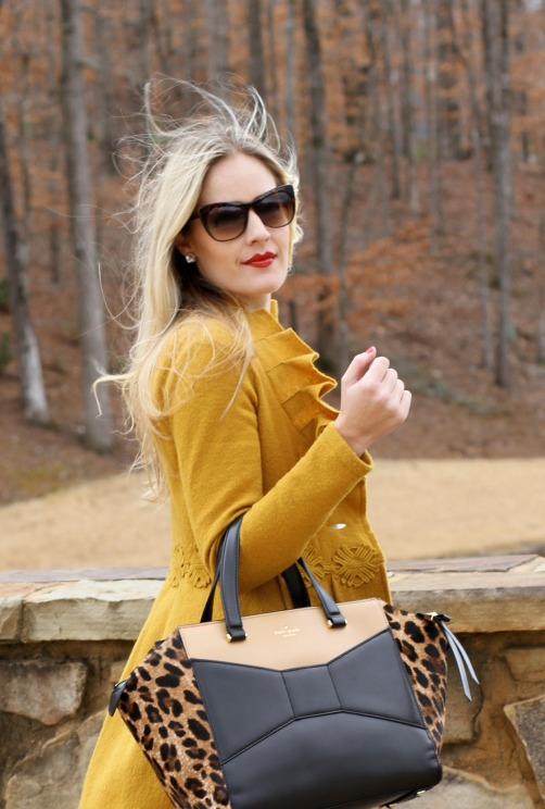 Red Lips and Kate Spade leopard beau bag