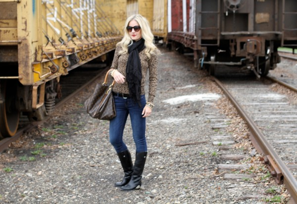 leopard sweater and frye boots on calicrest.com.jpg