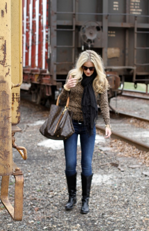 Leopard sweater, black Frye boots and a Louis Vuitton bag on calicrest.com.jpg