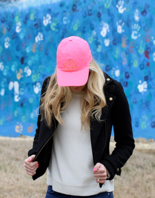 Pink JCrew hat and Moto Jacket on calicrest.com.jpg