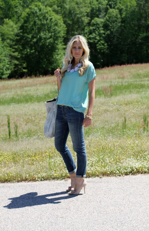Mint Top and Statement Necklace on CaliCrest.com.jpg