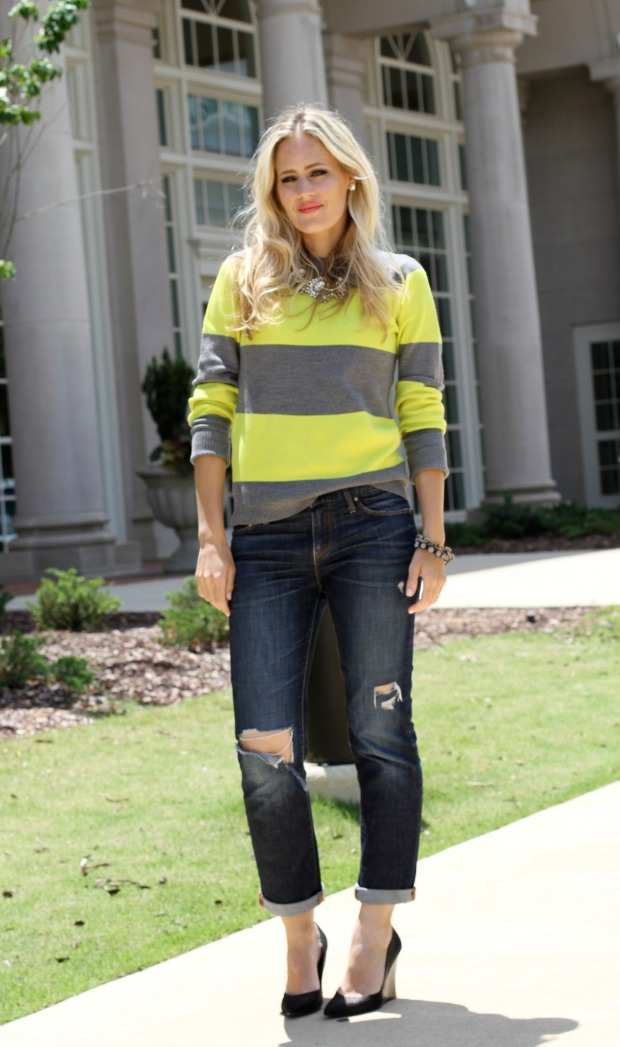 Grey and Neon Striped sweater with distressed boyfriend jeans.jpg