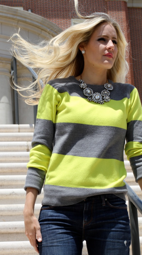 Neon yellow and grey sweater with statement necklace on calicrest.com.jpg