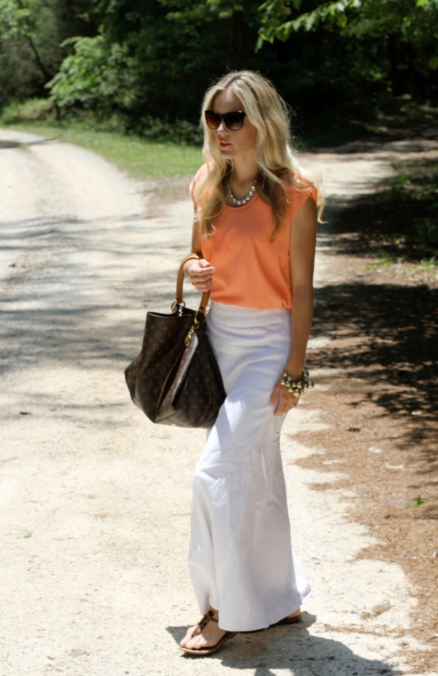 White Linen Banana Republic Skirt and Coral shirt on claicrest.com.jpg