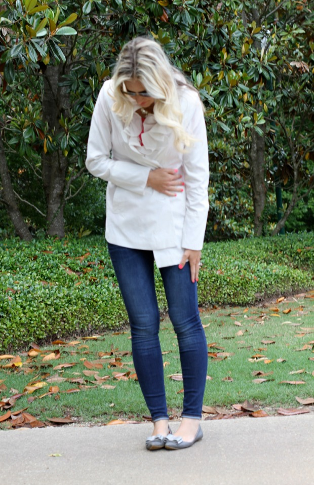 White Ruffle Raincoat and J Crew bow flats on calicrest.com.jpg