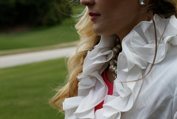 White Ruffle Raincoat and J Crew Jewelry on CaliCrest.com.jpg