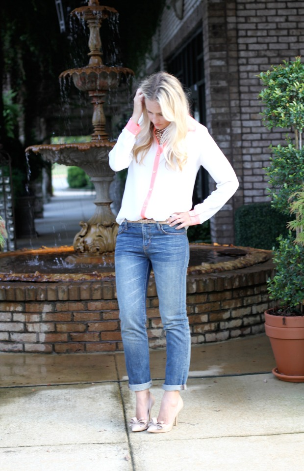 color block blouse and bow heels on calicrest.com