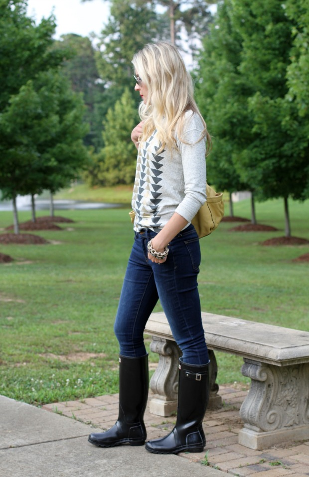 Hunter Boots and J Crew Summer sweatshirt on CaliCrest.com