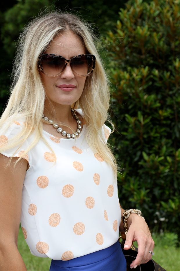Polka Dot Shirt from Jane.com and Tom Ford Sunglasses