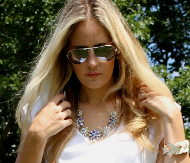 Ray-Ban Aviators and Ily Couture Statement necklace on CaliCrest.com