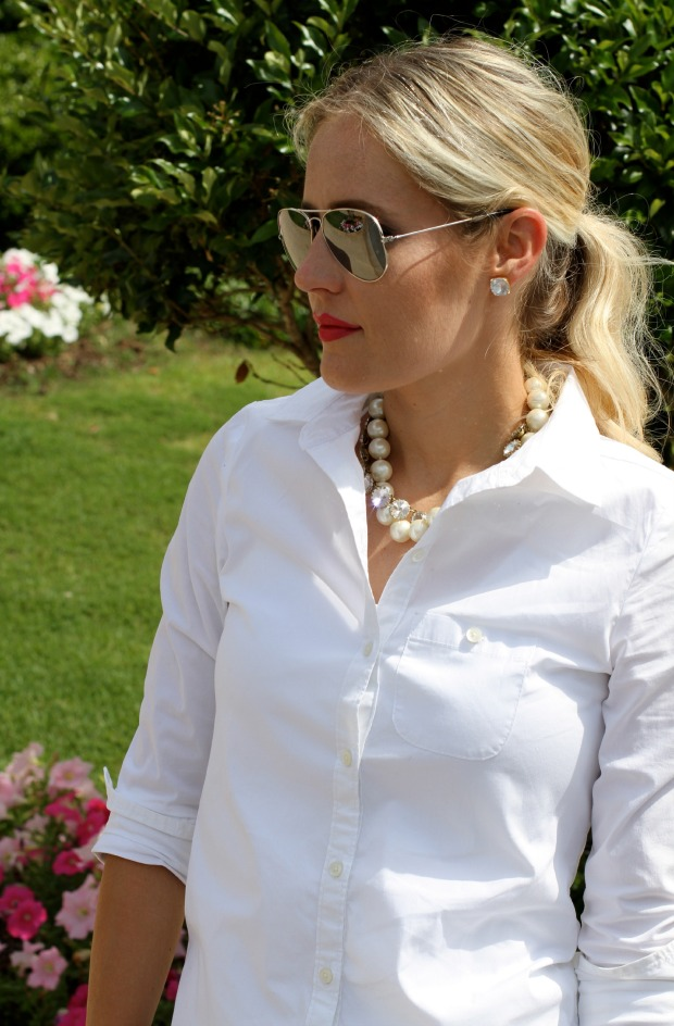 Ray-Ban Aviators with a white blouse and pearls on CaliCrest.com.jpg