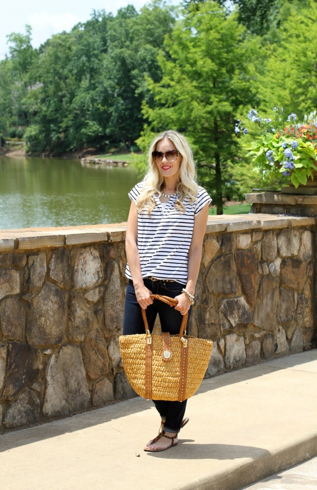 Stripes and an oversized straw bag on CaliCrest.com.jpg
