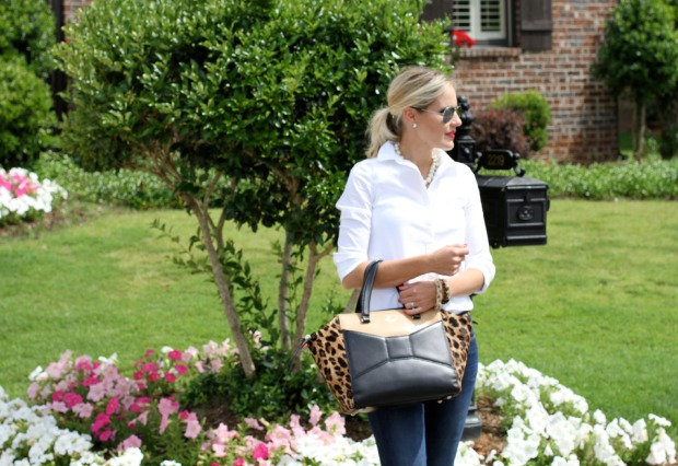 White Blouse with pearls and an oversized bag on CaliCrest.com.jpg