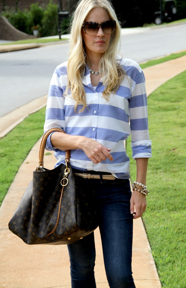 Banana Republic Striped shirt with Louis Vuitton Bag on CaliCrest.com