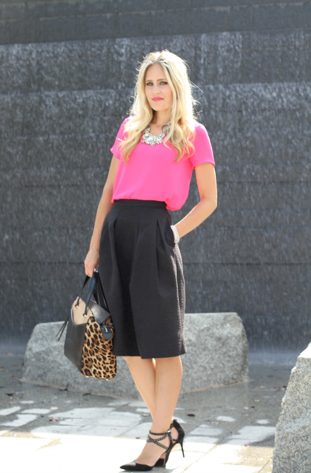 Bright Pink Blouse with Black Midi Skirt on CaliCrest.com