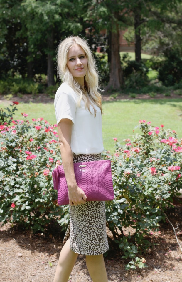 Dressed up in a leopard skirt and pink Gigi New York clutch on CaliCrest.com