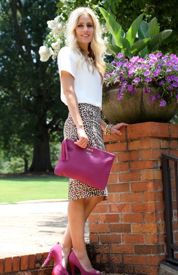 Dressed up in a Topshop Blouse and J Crew Leopard Skirt on CaliCrest.com