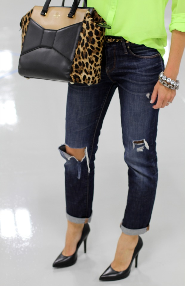 Gap Destructed Boyfriend Jeans with black ALDO heels on CaliCrest.com