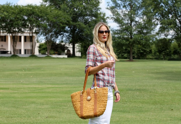 J Crew Factory plaid shirt and Michael Kors Straw Bag on CaliCrest.com