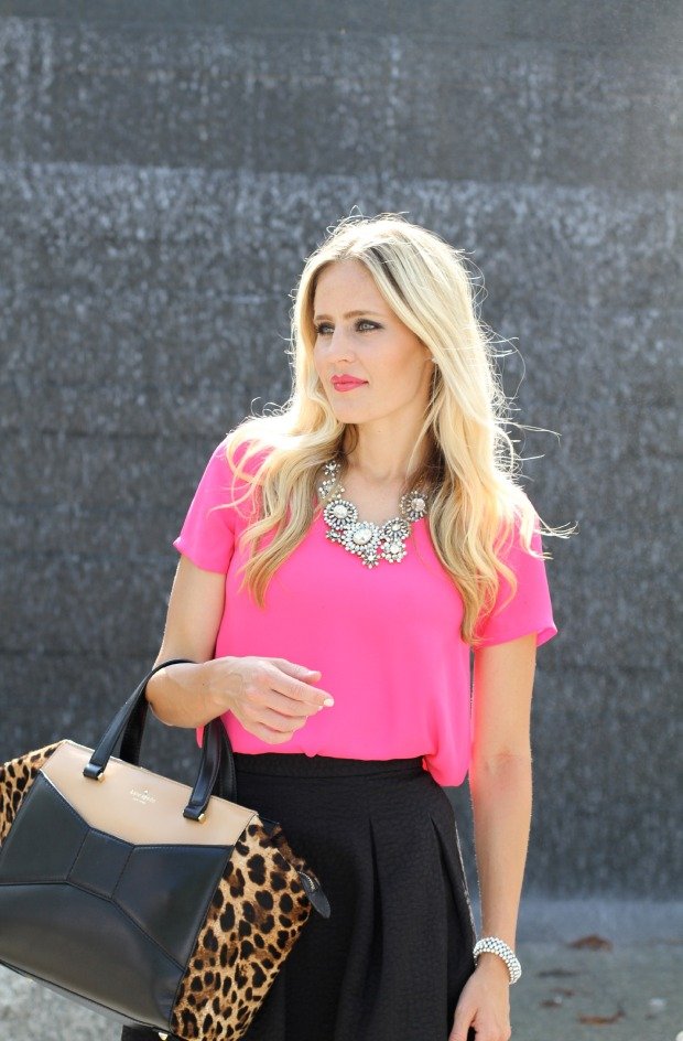 Kate Spade Leopard Beau Bag with bright pink top on CaliCrest.com