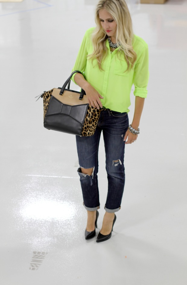 Neon Blouse from T.J. Maxx with Gap Boyfriend Jeans on CaliCrest.com