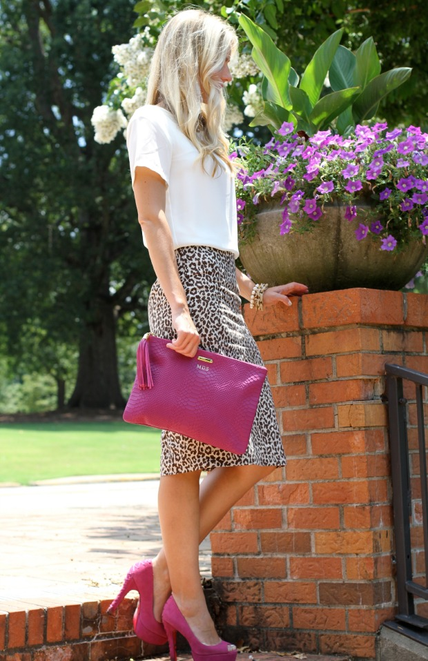 Pink Gigi New York Monogramed Clutch and Pink Betsy Johnson Heels on CaliCrest.com