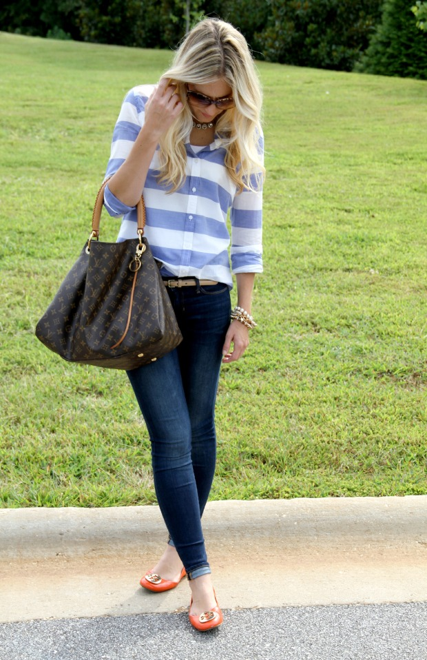 Skinny Jeans with Tory Burch Orange Reva Flats on CaliCrest.com.jpg