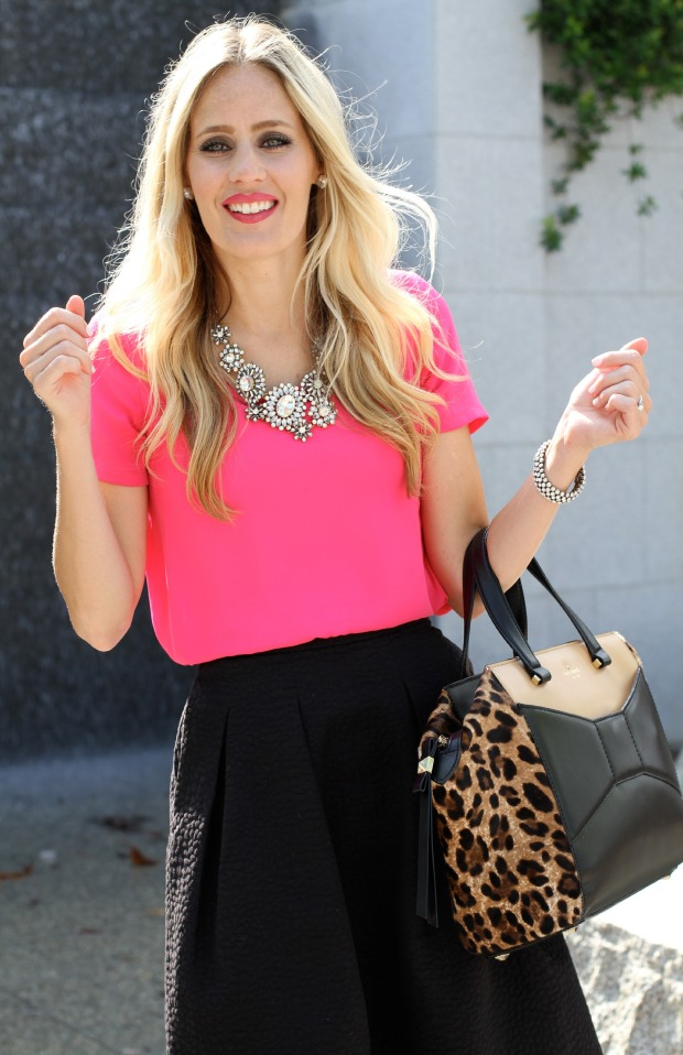 Statement necklace with bright pink shirt on CaliCrest.com