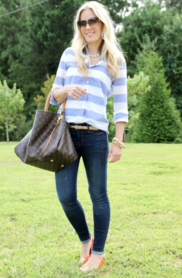 Striped shirt with Gap skinny jeans on CaliCrest.com