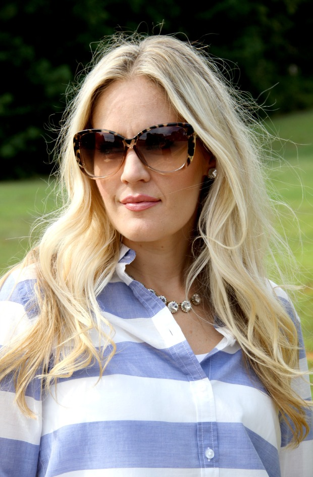 Tom Ford Sunglasses with JCrew necklace and Kate Spade Earrings on CaliCrest.com