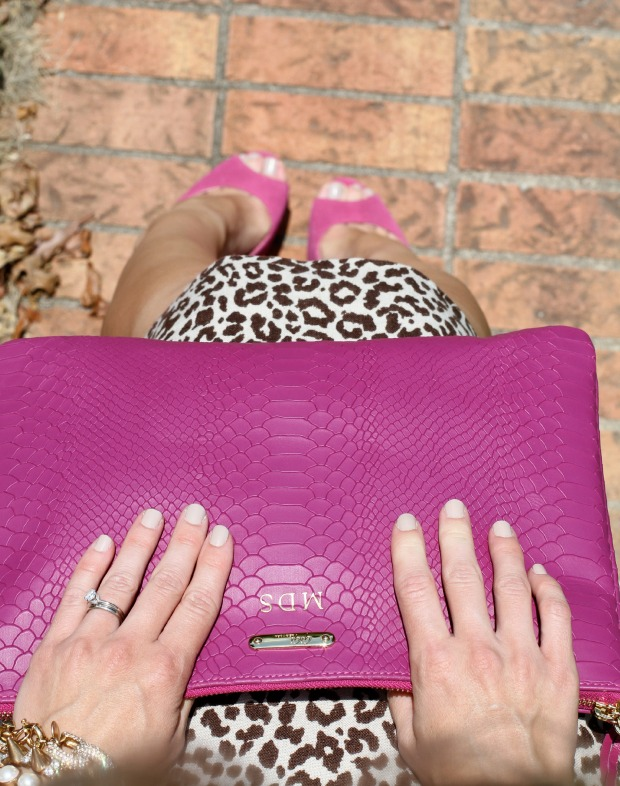 Wearing Essie Sand Tropez nail polish with mongoramed Pink Gigi New York Clutch on CaliCrest.com