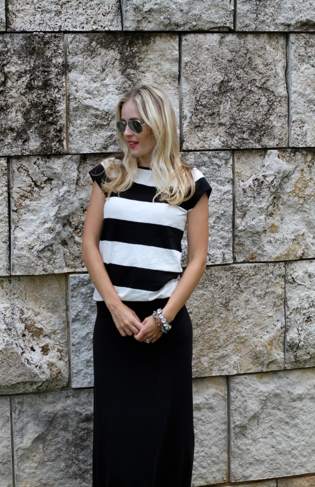 Striped shirt with a maxi skirt on calicrest.com