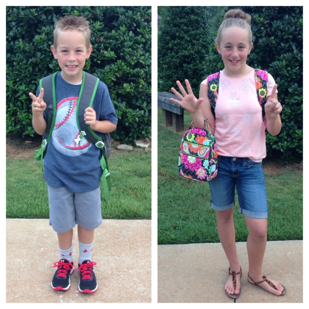Billy and Elle on their first day of school