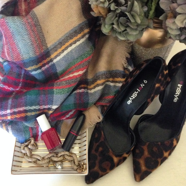 Zara Scarf, Nine West Leopard Heels, JCrew Jewelry, Essie Nailpolish, MAC lipstick