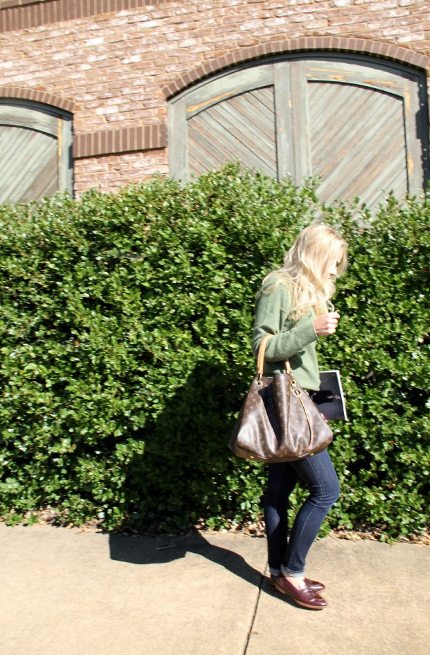 Green Sweater with Louis Vuitton Bag on CaliCrest.com