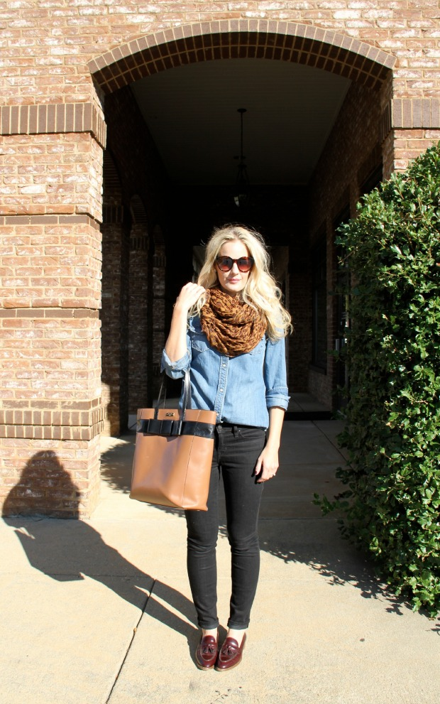 Leopard Scarf with large Kate Spade bag on CaliCrest.com
