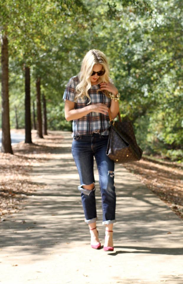 Plaid Shirt with Boyfriend Jeans on CaliCrest.com