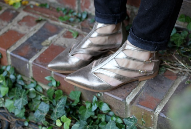 Anthropologie gold flats on CaliCrest.com