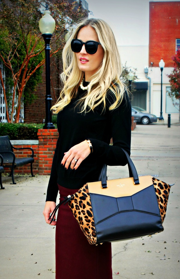 leopard bag and pencil skirt on calicrest.com
