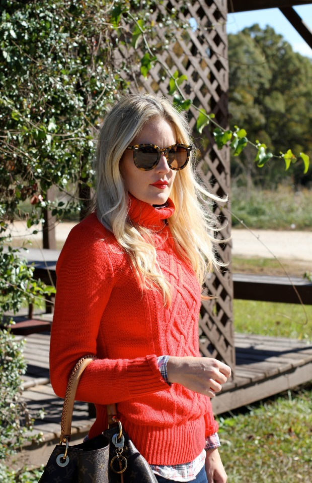 Red Turtleneck layered with Plaid on CaliCrest.com