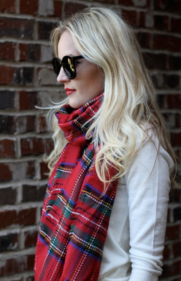 Target Plaid Scarf and Karen Walker Super Duper Sunglasses on CaliCrest.com