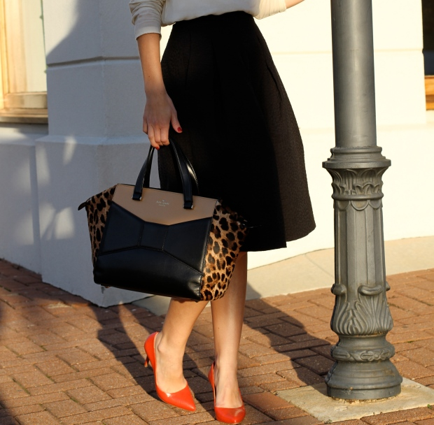 H&M Midi Skirt and Red Schutz Heels on CaliCrest.com