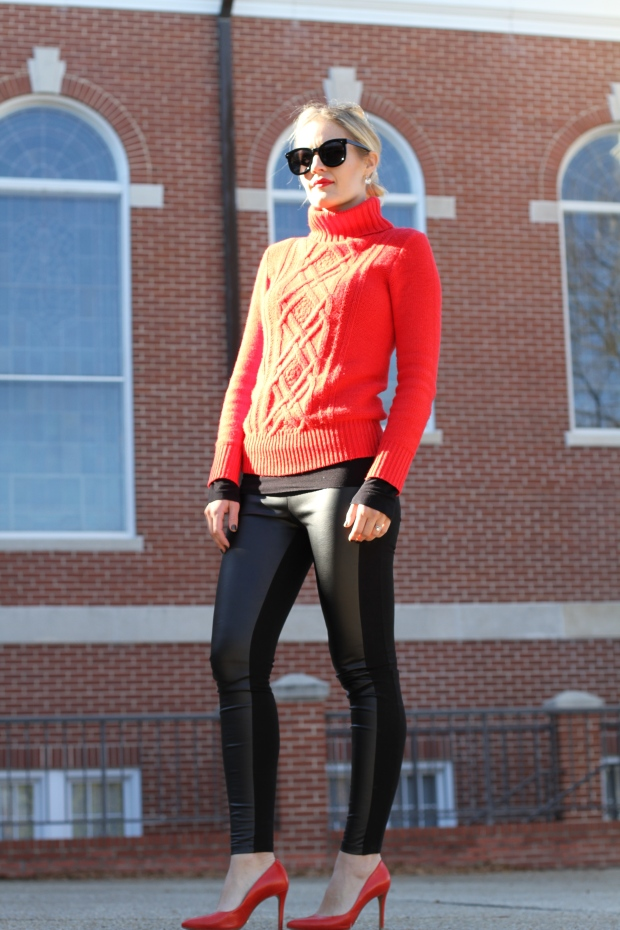 Turtleneck and Leather Leggings on CaliCrest.com