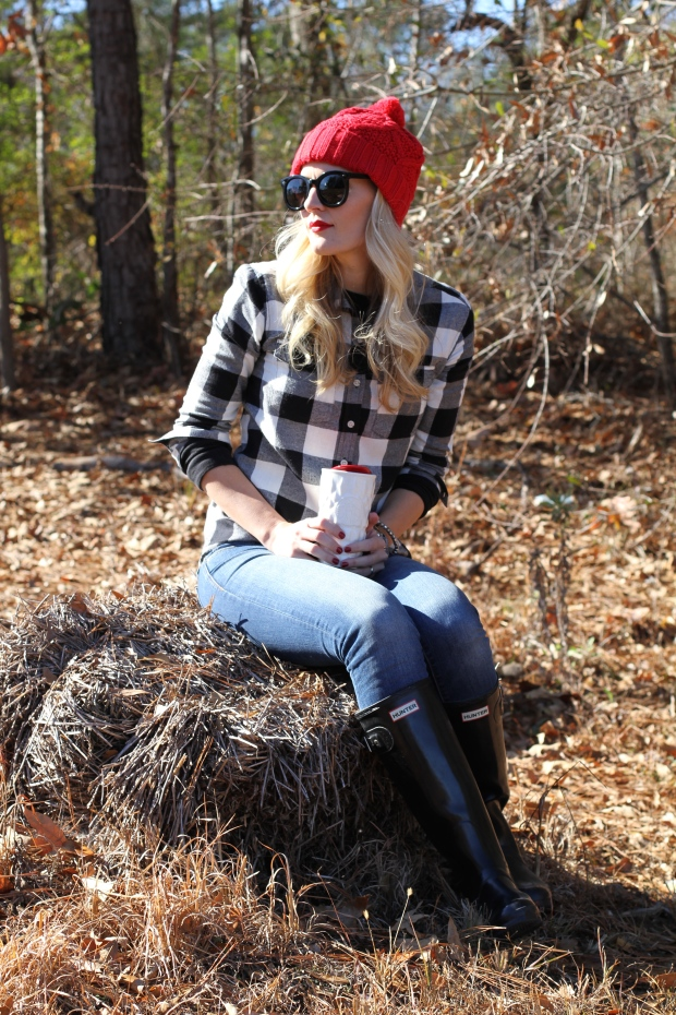 Buffalo Plaid with Red Beanie on CaliCrest.com