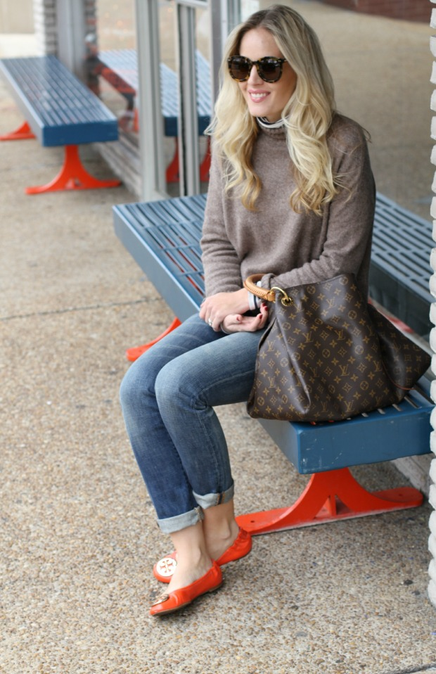 Warm Turtlenecks and Tory Burch flats on CaliCrest.com