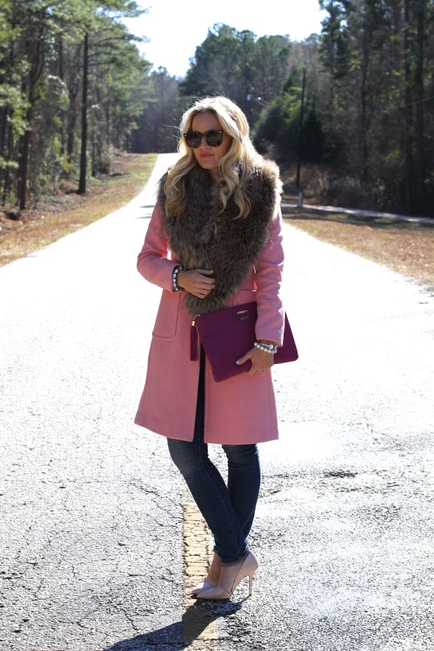 Pink Coat + Faux Fur Collar on CaliCrest.com