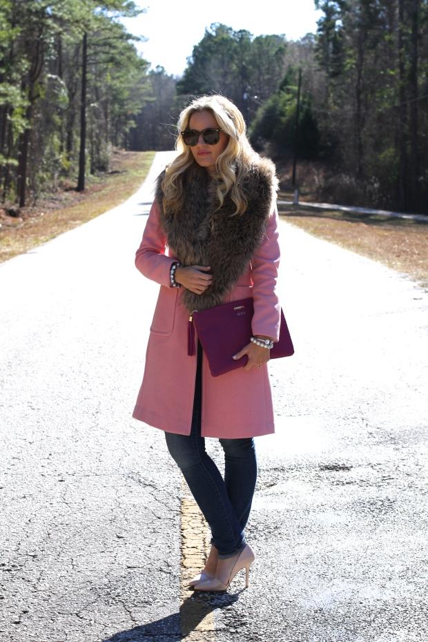 Pink Coat + Faux Fur Collar on CaliCrest.com