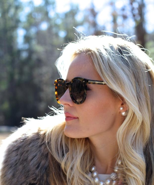 Karen Walker Super Duper Sunglasses and Double Pearl Earrings on CaliCrest.com