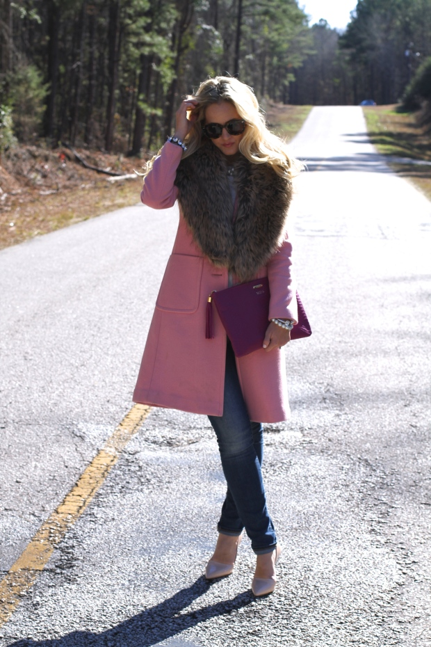 Pink Coat and Faux Fur Collar on CaliCrest.com